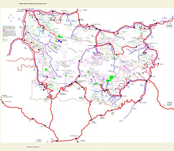 Mapa de ascensiones y excursiones de los Picos de Europa