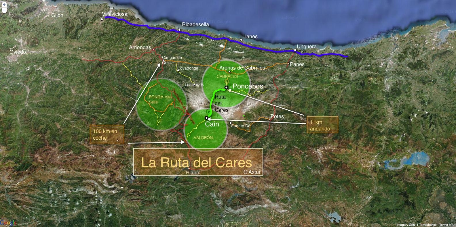 Mapa de la Ruta del Cares. Situación en los Picos de Europa