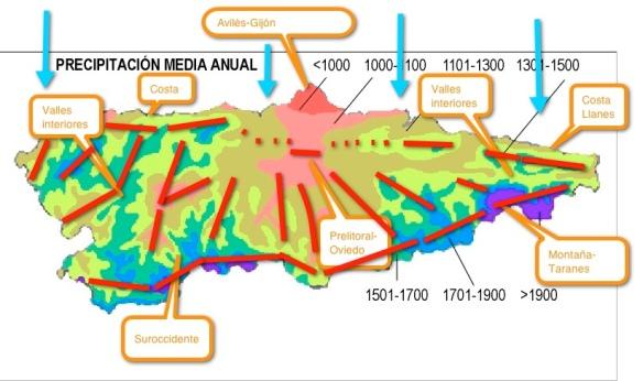 La influencia de la orografia en el Tiempo en Asturias