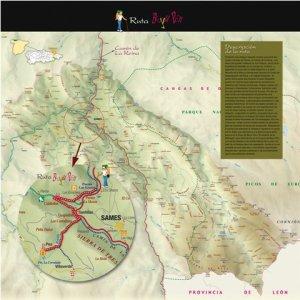 Mapa de situación del la ruta del bosque mitologico del Beyo pen, Picos de Europa