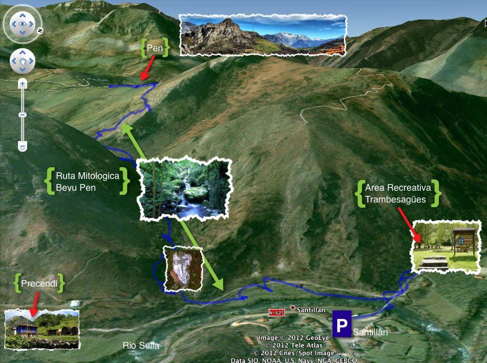 Mapa de la ruta mitologica del beyu pen