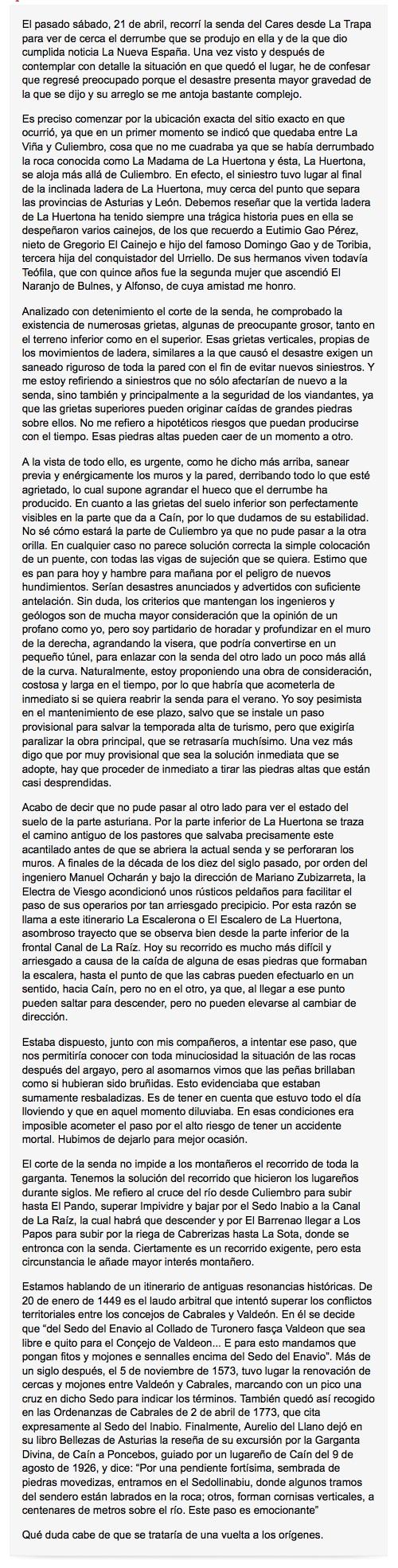 Francisco Ballesteros opina sobre la pasarela en la Ruta del Cares