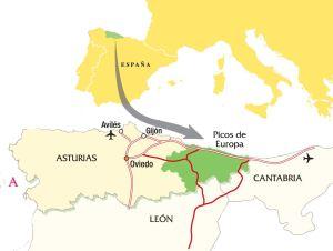 Situación  en el mapa de los Picos de Europa y Asturias
